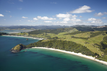 New Chums Beach, and Motuto Point, Coromandel Peninsula, North Island, New Zealand - aerial