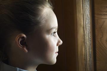 Girl looking away, close-up