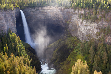 Canada, British Columbia, Wells Gray Provincial Park. Scenic of Helmcken Falls