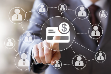 Businessman pushing button credit card dollar currency icon