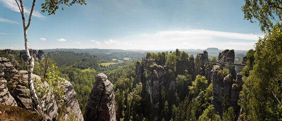 The Bastei bridge and Elbe Sandstone Mountains, Bastei, Saxony, Germany