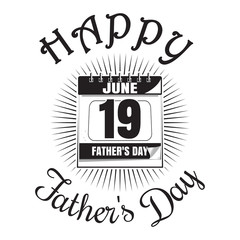 Father's Day icon. Happy Father's Day lettering. Wall calendar with festive date (June 19) isolated on white background