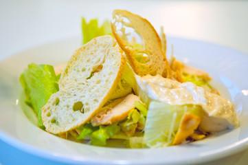 Caesar salad on the plate