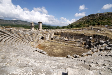 The amphitheatre at the Lycian site of Xanthos, UNESCO World Heritage Site, Antalya Province, Anatolia, Turkey, Asia Minor, Eurasia