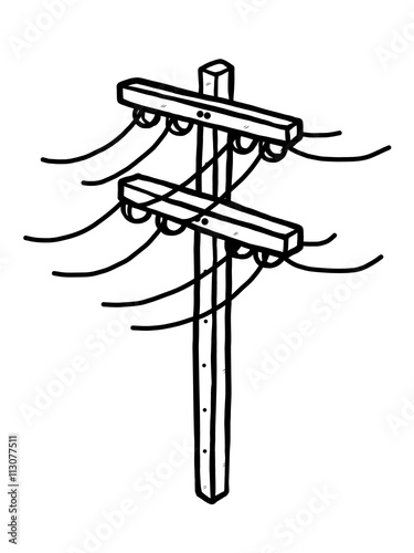 Electric Post Cartoon Vector And Illustration Black And White