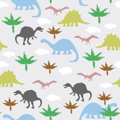 Ornament with dinosaurs, clouds and vegetation.
