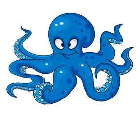 Blue cartoon octopus