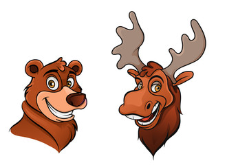 Cheerful bear and moose