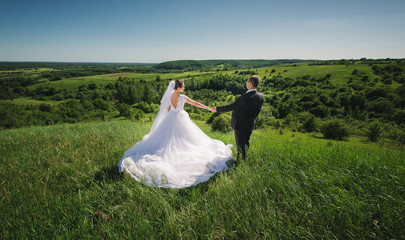 Beautiful summer Wedding walk on nature