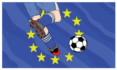 football player kicks the ball against the background of the flag of the European Union. vector illustration.
