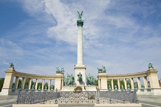 The Millennium monument, with archangel Gabriel on top, Heroes Square (Hosok tere), Budapest, Hungary