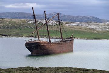 The wreck of the Lady Elizabeth, Stanley, East Falkland, Falkland Islands, South Atlantic, South America