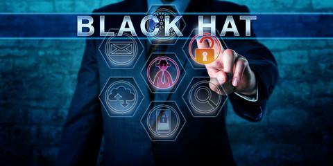 Forensic Investigator Touching BLACK HAT