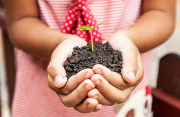 child holding soil with sprout