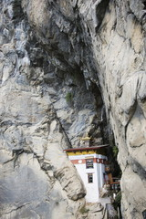 A temple built into the side of a cliff, Tigers Nest (Taktsang Goemba), Paro Valley, Bhutan, Asia