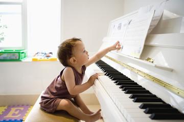 Toddler at piano