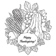 Thanksgiving Day greeting card with berries, vegetables and fruits