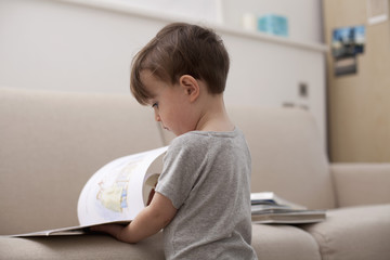 A young boy looking at a picture book