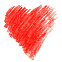 Bright Red crayon hand drawn spot in the shape of a heart. Hatching colored pencil.