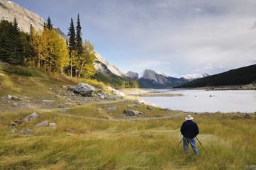 Photographer at Medicine Lake, Jasper National Park, UNESCO World Heritage Site, Rocky Mountains, Alberta, Canada, North America