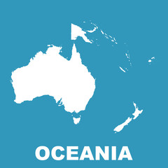 Australia and Oceania map. Flat vector