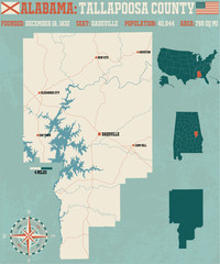 Large and detailed map and infos about Tallapoosa County in Alabama