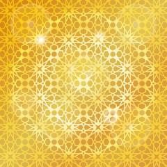Arabic islamic pattern,gold background.Geometrical