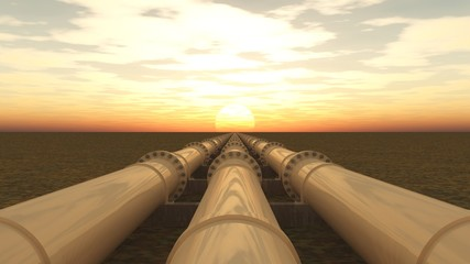 Pipelines bei Sonnenuntergang