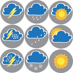 Nine icons of weather: clouds, sun, rain,. Vector illustration.