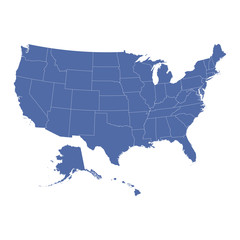 High Detail USA Map with federal states. Vector flat