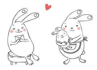 Cute bunnies. Letter and baby.