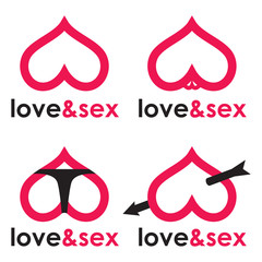 Sex shop logo hearts collection