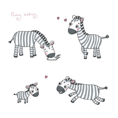 Funny cartoon zebras