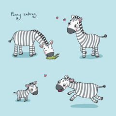 Funny cartoon zebras