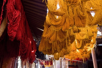 The Dyers Souks, freshly dyed wools drying, Medina, Marrakech (Marrakesh), Morocco, North Africa, Africa