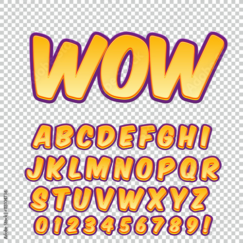Super Creative high detail comic font. Alphabet in the style of comics  OE22