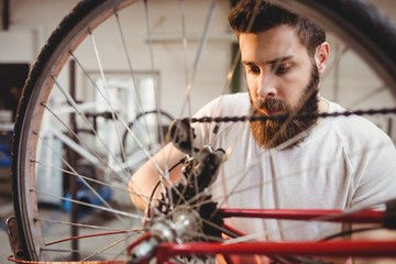 Portrait of hipster repairing a bicycle
