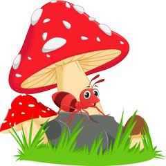 happy ant cartoon with red mushroom