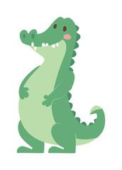 Cartoon green crocodile reptile flat vector illustration.