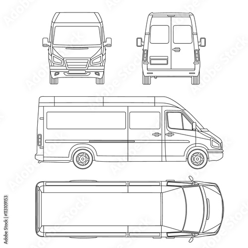 Van template commercial vehicle blueprint drawing proection van template commercial vehicle blueprint drawing proection all view bus malvernweather Choice Image