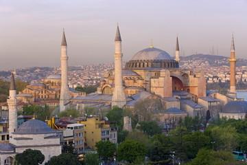 Elevated view of Aya Sofya (Sancta Sophia), UNESCO World Heritage Site, in Sultanahmet, Istanbul, Turkey, Europe