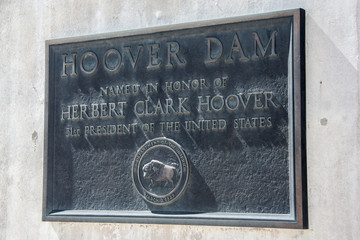 Memorial table at Hoover Dam also known as Boulder Dam, between Nevada and Arizona,  USA