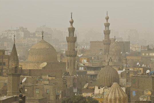 Smog over the minarets of Cairo, Egypt