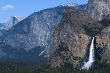 Bridesveil Falls with rainbow, Yosemite National Park, UNESCO World Heritage Site, California, United States of America, North America