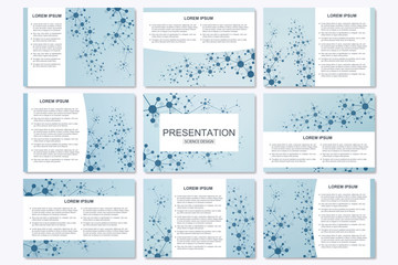 Set of modern business presentation templates in A4 size. Connection structure. Abstract background with molecule structure DNA and neurons
