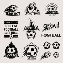 Set of vintage, modern and retro logo badges, labels football game, club, sign Goal, soccer ball. Sport typography text, icons, old emblems. Vector illustration
