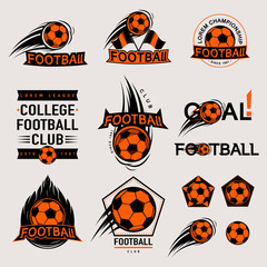 Set of color vintage, modern and retro logo badges, labels football game, club, sign Goal, soccer ball. Sport typography text, icons, old emblems. Vector illustration easy changed