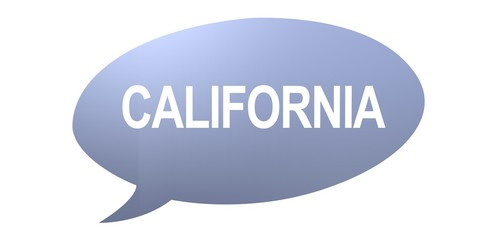 California speech bubble with text on a white background