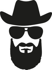 Cowboy king with western hat, sunglasses and full beard