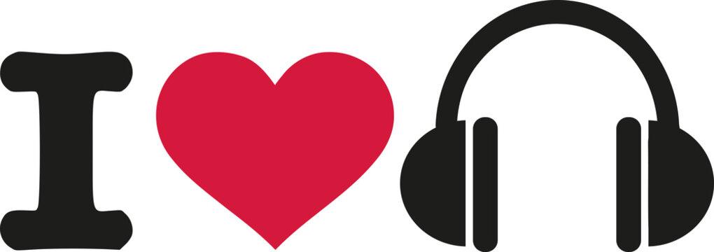 I love headphones symbol